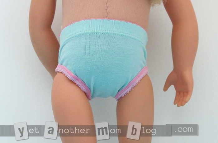 American Girl/OG doll underwear, completed back view
