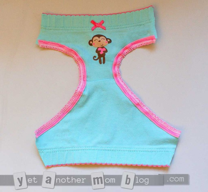 """18"""" Doll Undies partially assembled, showing leg openings"""