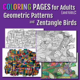 Coloring Pages April 2015 - Geometric Patterns and Zentangle Birds