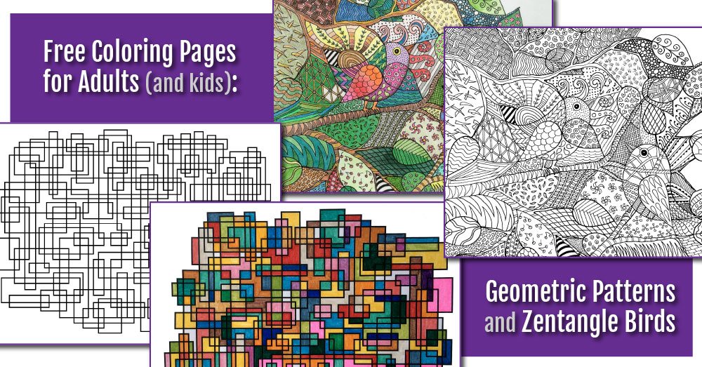 Free Zentangle Coloring Page and Abstract Geometric Coloring Page