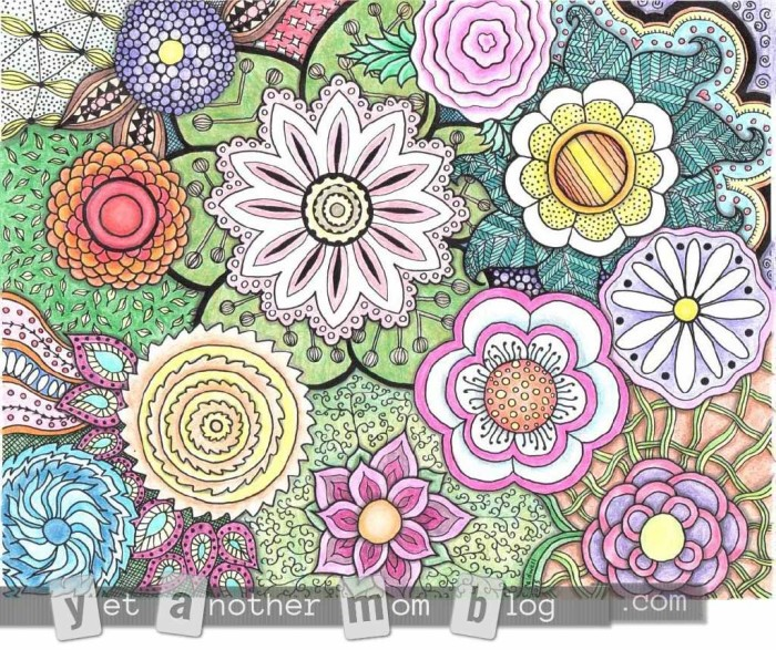 Adult Coloring Page Zentangle Flowers - large, colored