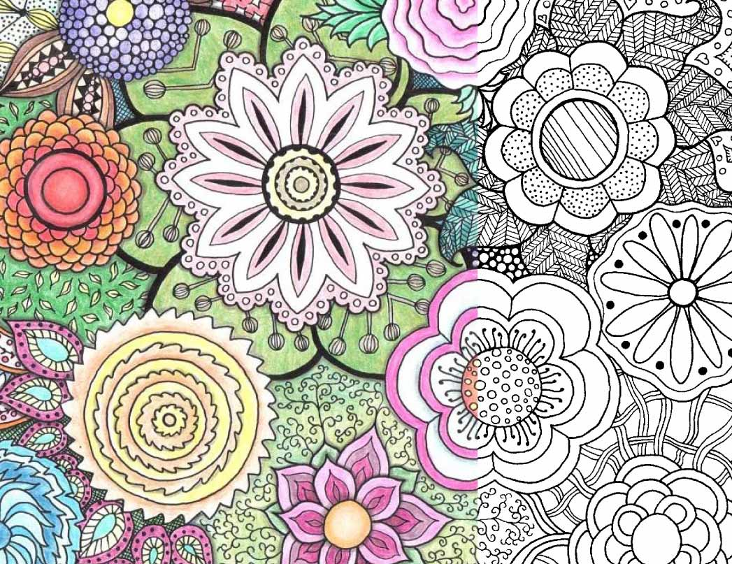 Coloring Page for Adults: Zentangle Flowers free PDF download