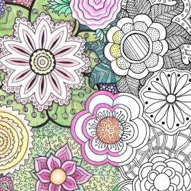 Free Coloring Pages for Adults: Zentangle Flowers