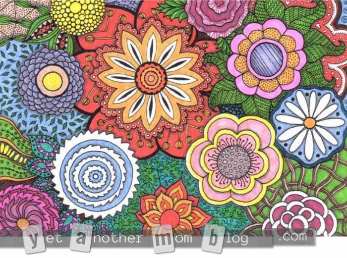 Coloring Page for Adults: Zentangle Flowers, first small colored