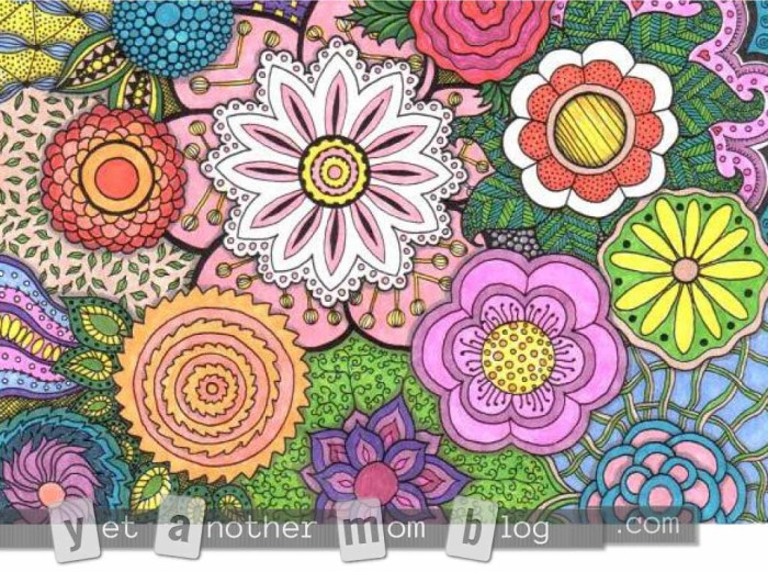 Adult Coloring Page - Zentangle Flowers, second small colored