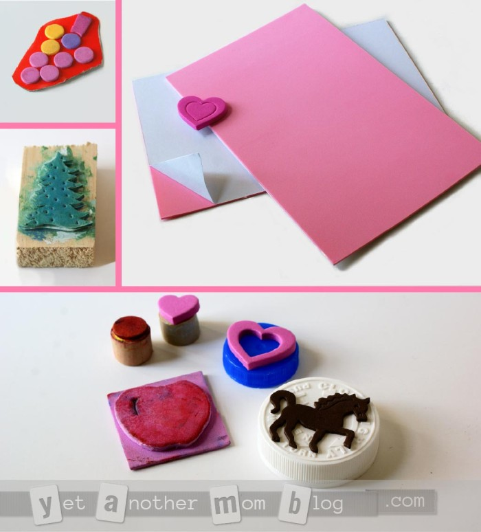 DIY foam stamps made from foam stickers