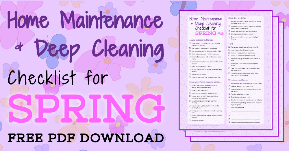 Home Maintenance & Deep Cleaning Checklist for Spring Free PDF Download