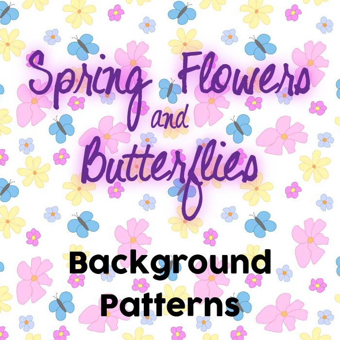 Spring Flowers and Butterflies Free Tile Background Patterns