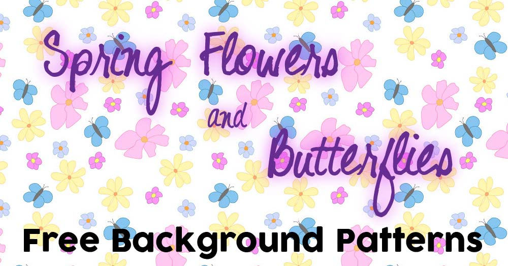 Spring Flowers and Butterflies Background Pattern Freebie
