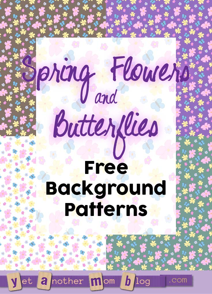 Free Flowers and Butterflies Tile Background Patterns