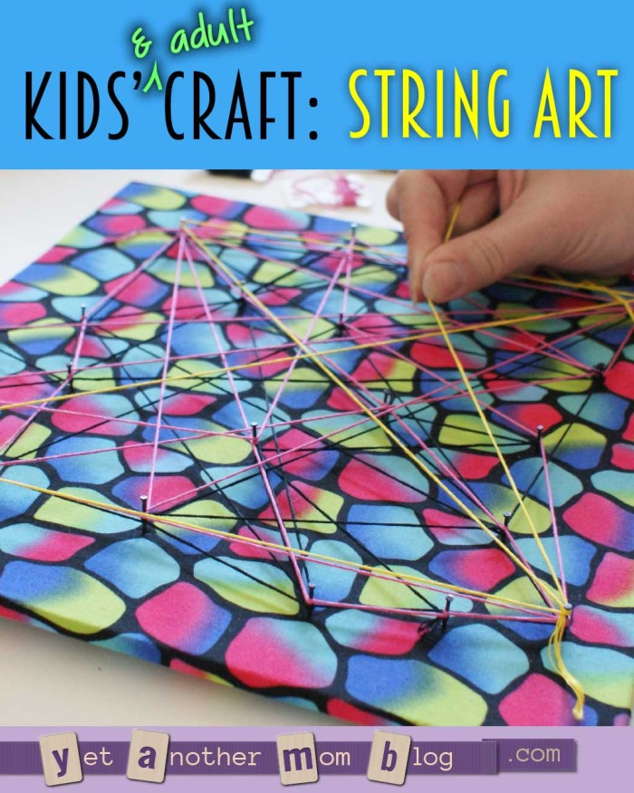 Kids' (and Adult) Craft: String Art @ Yet Another Mom Blog - This is a great DIY project for all skill levels. You can make it really basic and abstract, or with a more precise, geometric pattern. See our step-by-step instructions for an easy abstract work of art!