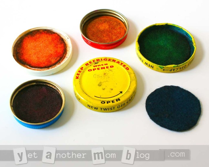 vintage DIY stamp pads from food coloring that still work today