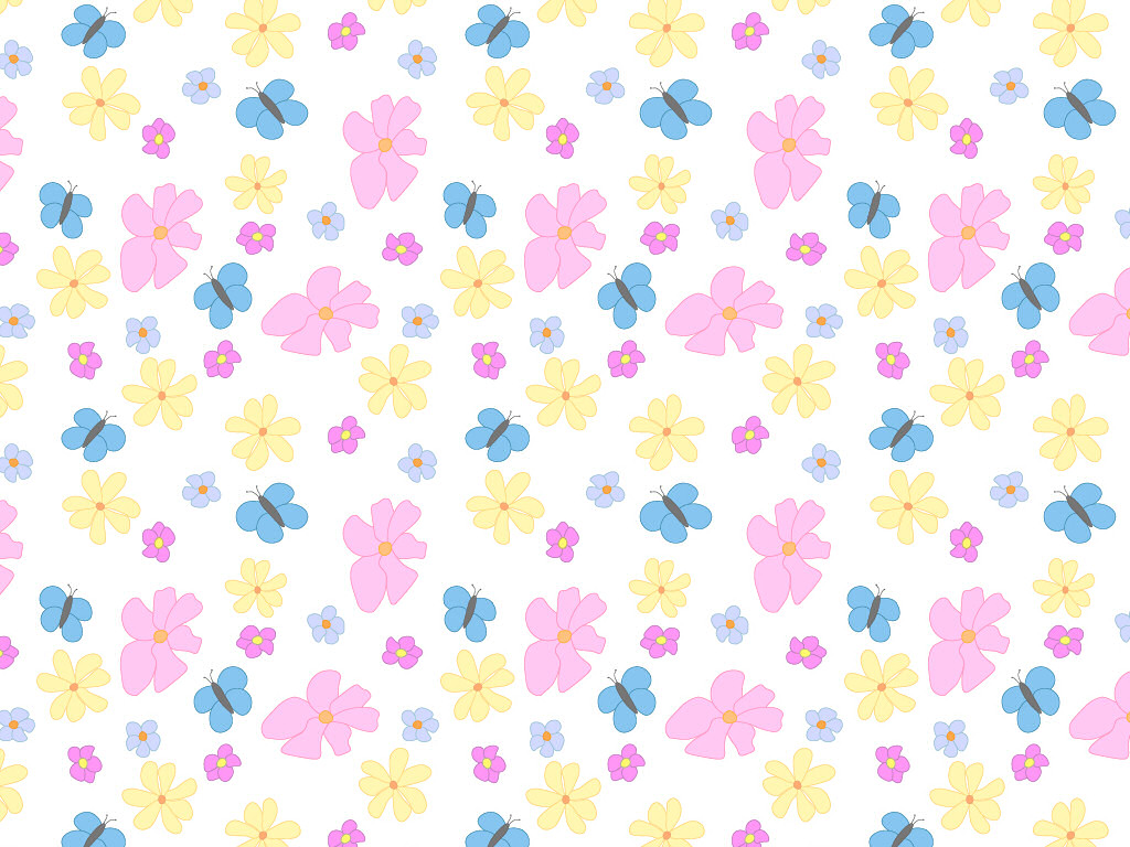 Swatch of Flowers and Butterflies Pattern on White Background
