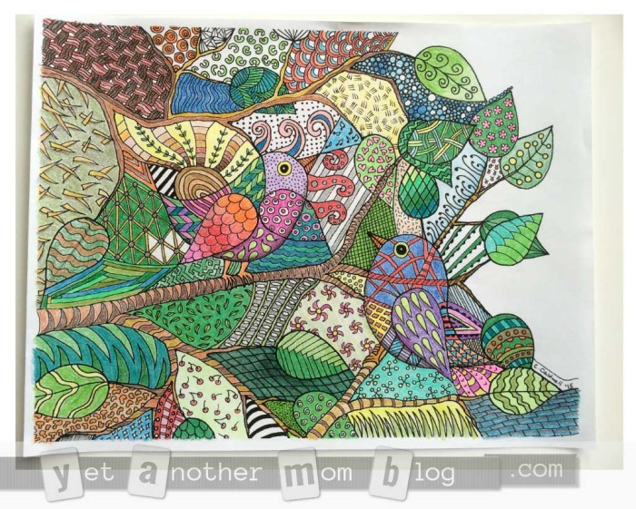 Zentangle Birds Coloring Page - my colored sample
