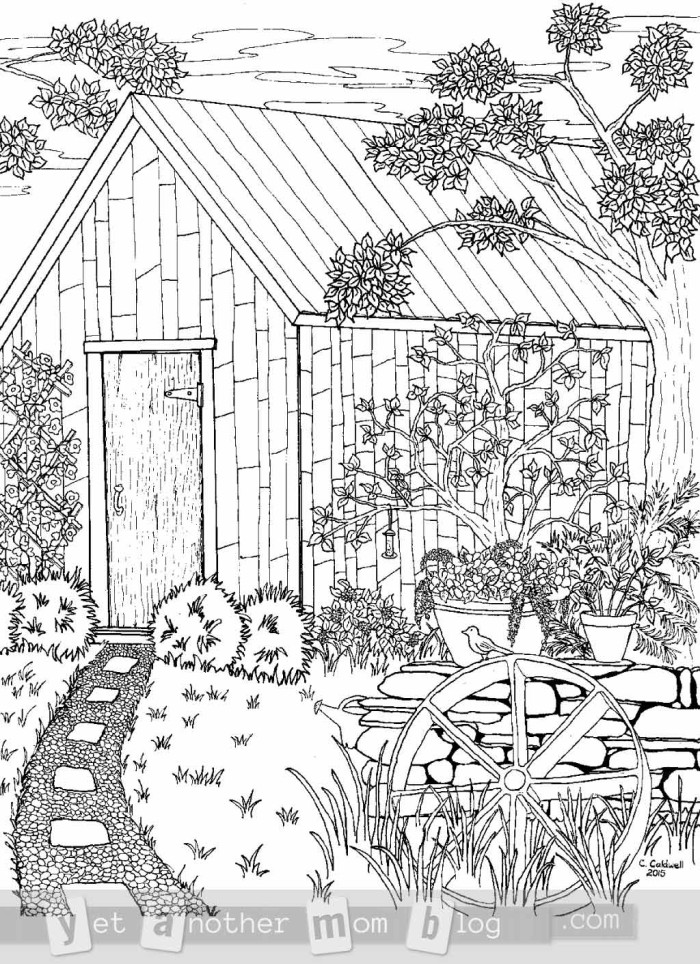 Coloring Page for Grown Ups Garden
