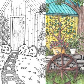 Coloring Page for Grown Ups - Garden Scene