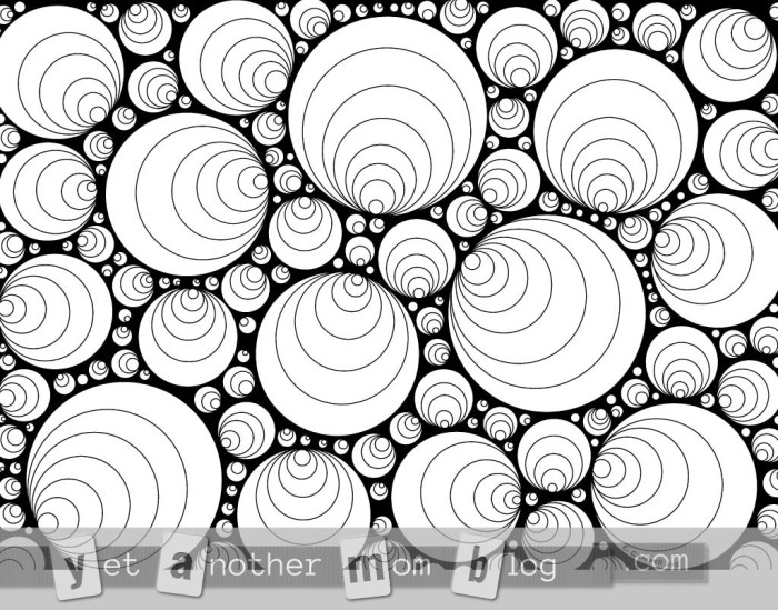 Coloring Page for Grownups: concentric circles with black background