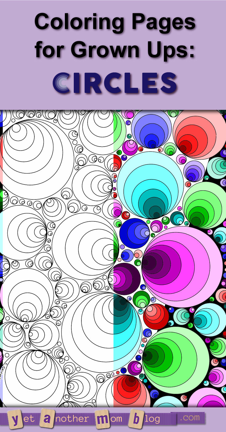 Coloring Pages for Adults: Geometric Circles. Two variations available: white or black background. These concentric circles may make you dizzy!
