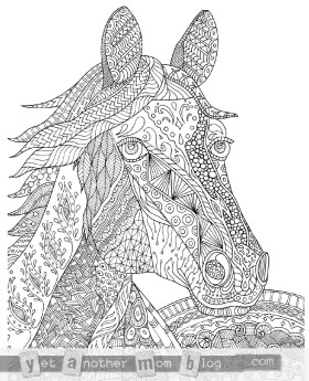 Zentangle Horse Coloring Page for Adults, plus Bonus Easy Horse