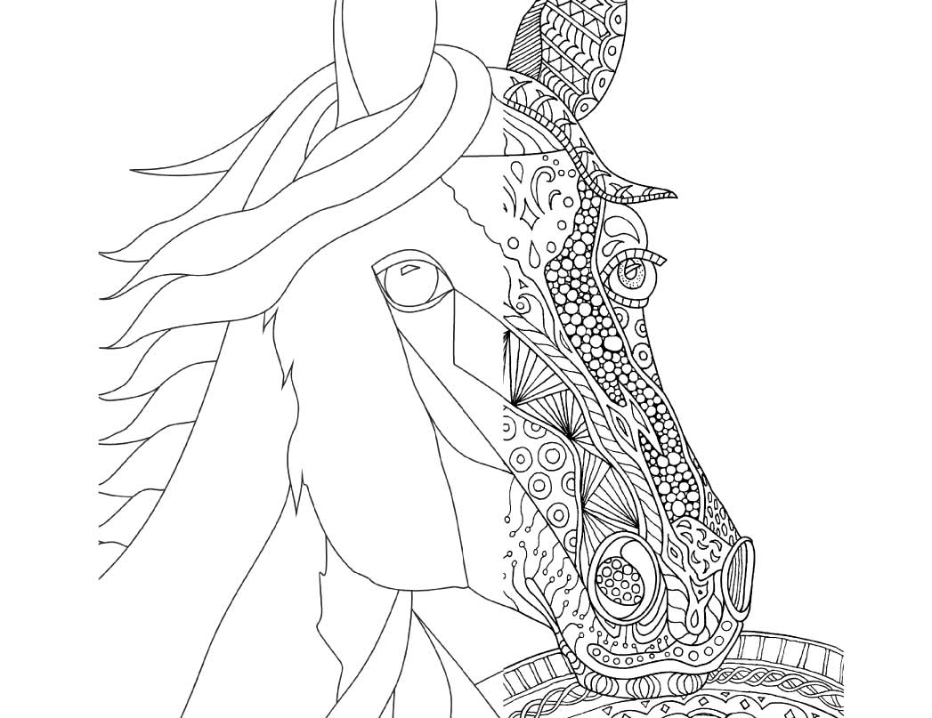 Zentangle Horse Coloring Page for Adults, plus bonus plain horse to color or Zentangle yourself!