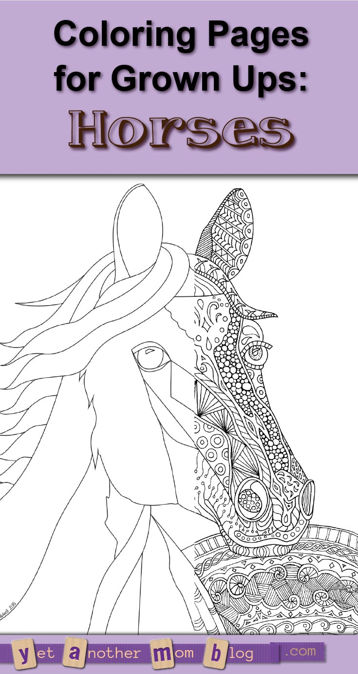 Adult Coloring Pages: Zentangle Horse Coloring Page and Bonus Simple Horse Coloring Page to color or Zentangle yourself!