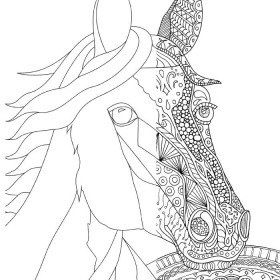 Coloring Pages for Adults: Zentangle Horse or Easy Horse