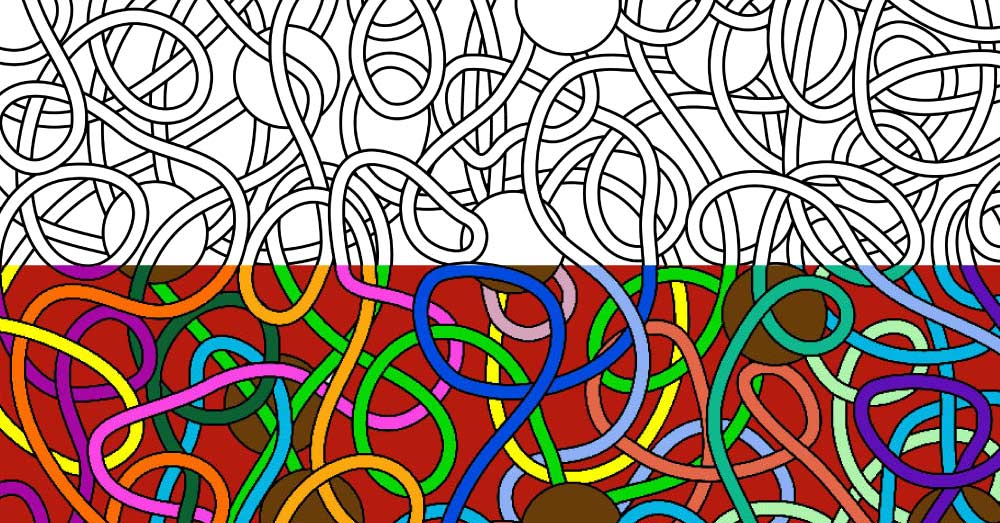 Coloring For Adults: Abstract Spaghetti & Meatballs