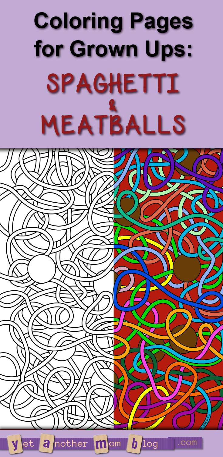 Coloring Pages for Grown Ups: Abstract Spaghetti & Meatballs. This is a good one for adults or kids to color!