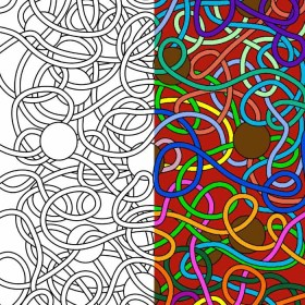 Coloring Pages: Abstract Spaghetti & Meatballs