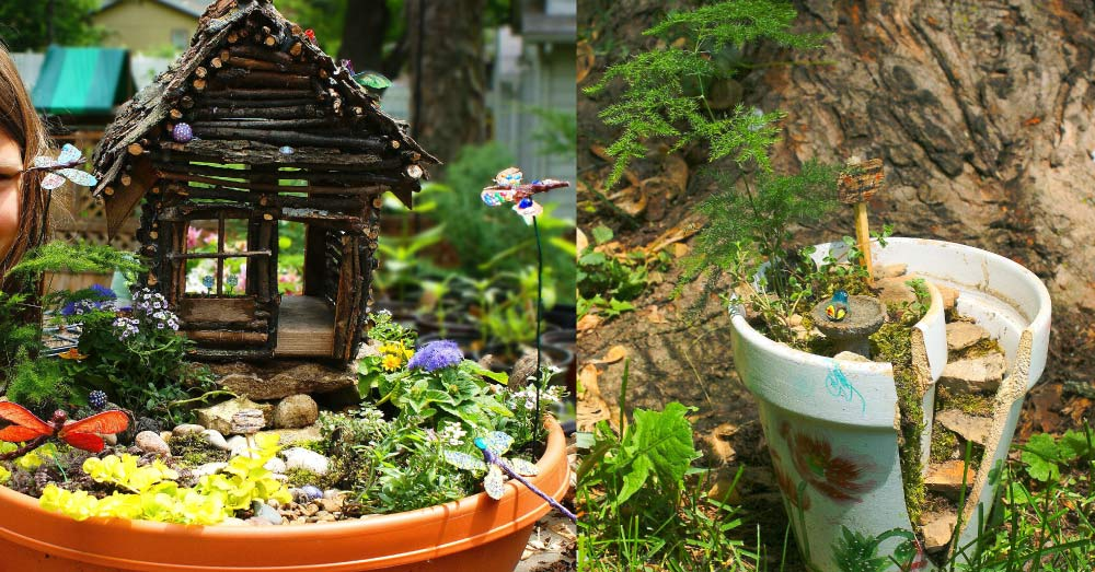DIY Fairy Gardens - 2 examples of the cutest nature activities ever to make with your kids!