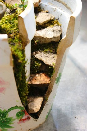 DIY Flower Pot Fairy Garden - stairs with moss