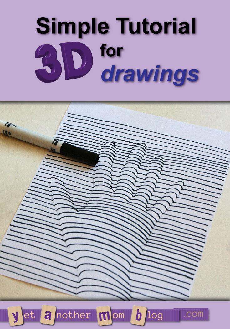 Simple Tutorial for 3D drawings - leave as-is or color for even more coolness!