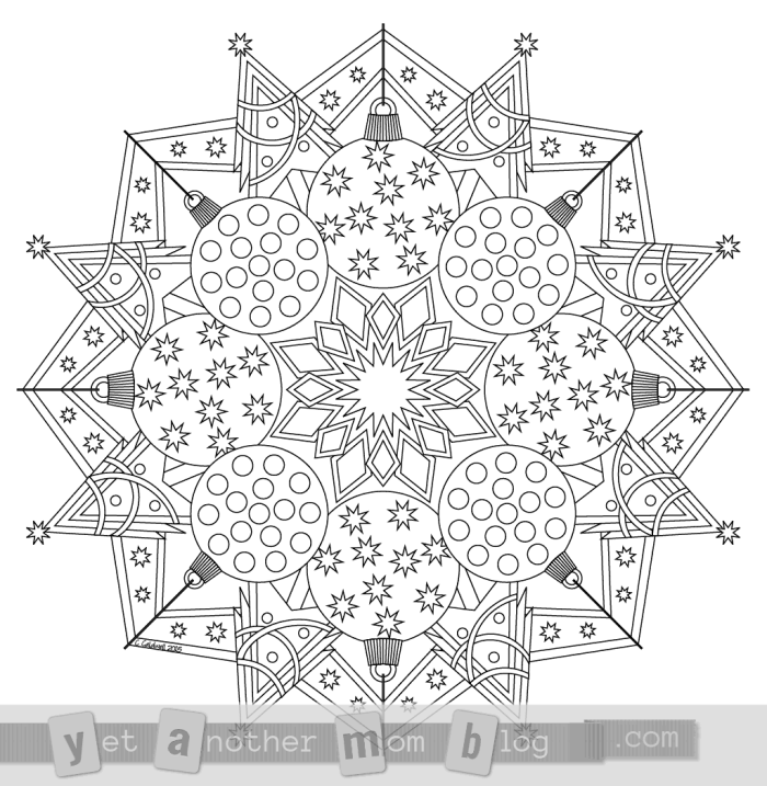 Christmas Mandala Coloring Page Free PDF Download