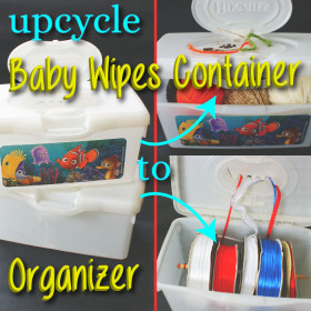 Upcycle baby wipes container to yarn/ribbon organizer
