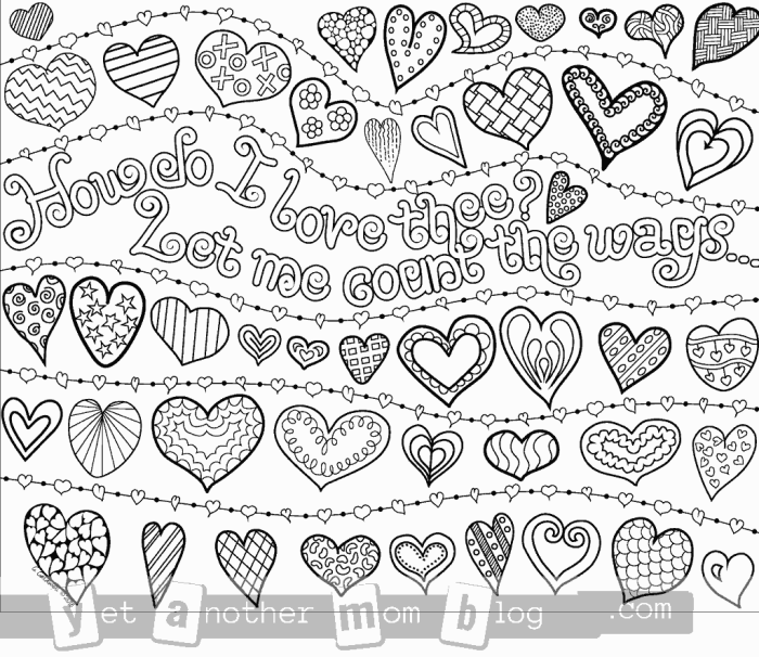 Valentine's Day coloring page of hearts
