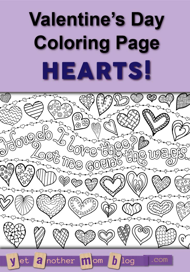How do I love thee? Let me count the ways... or count the hearts! Free coloring page for Valentine's Day to download.