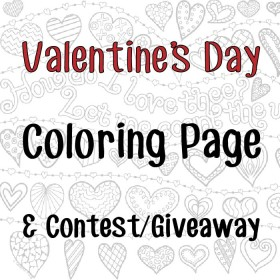 Valentine's Day Coloring Page (Hearts) & Contest/Giveaway