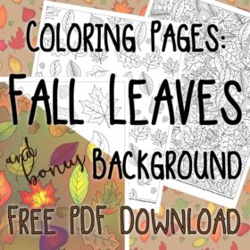 Coloring Pages: Fall Leaves and bonus Background Printable PDF Download