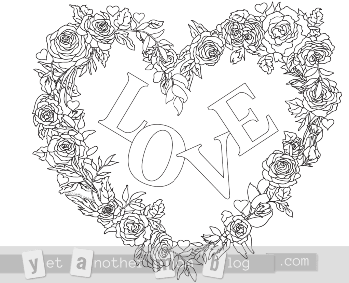 LOVE wreath of roses heart coloring page for Valentine's Day