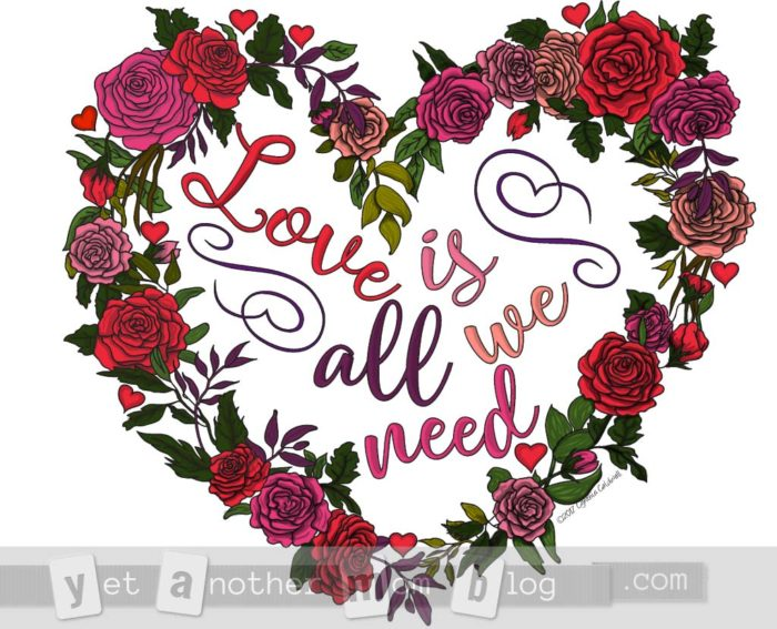 Love is all we need heart rose wreath coloring page - colored