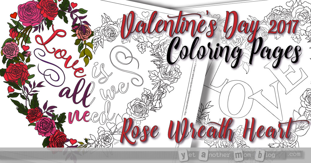 Valentine's Day Coloring Pages - Heart Wreath of Roses