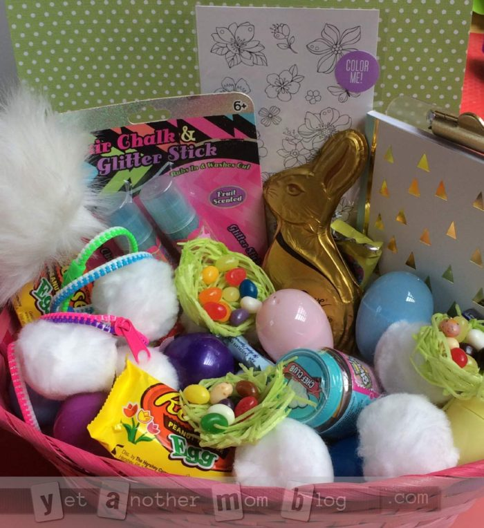 Easter baskets filled with pom poms instead of fake grass