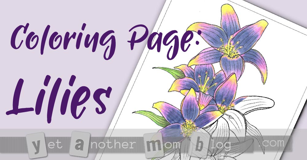 Free PDF Downloadable Coloring Page: Lilies - perfect spring coloring page for Easter!