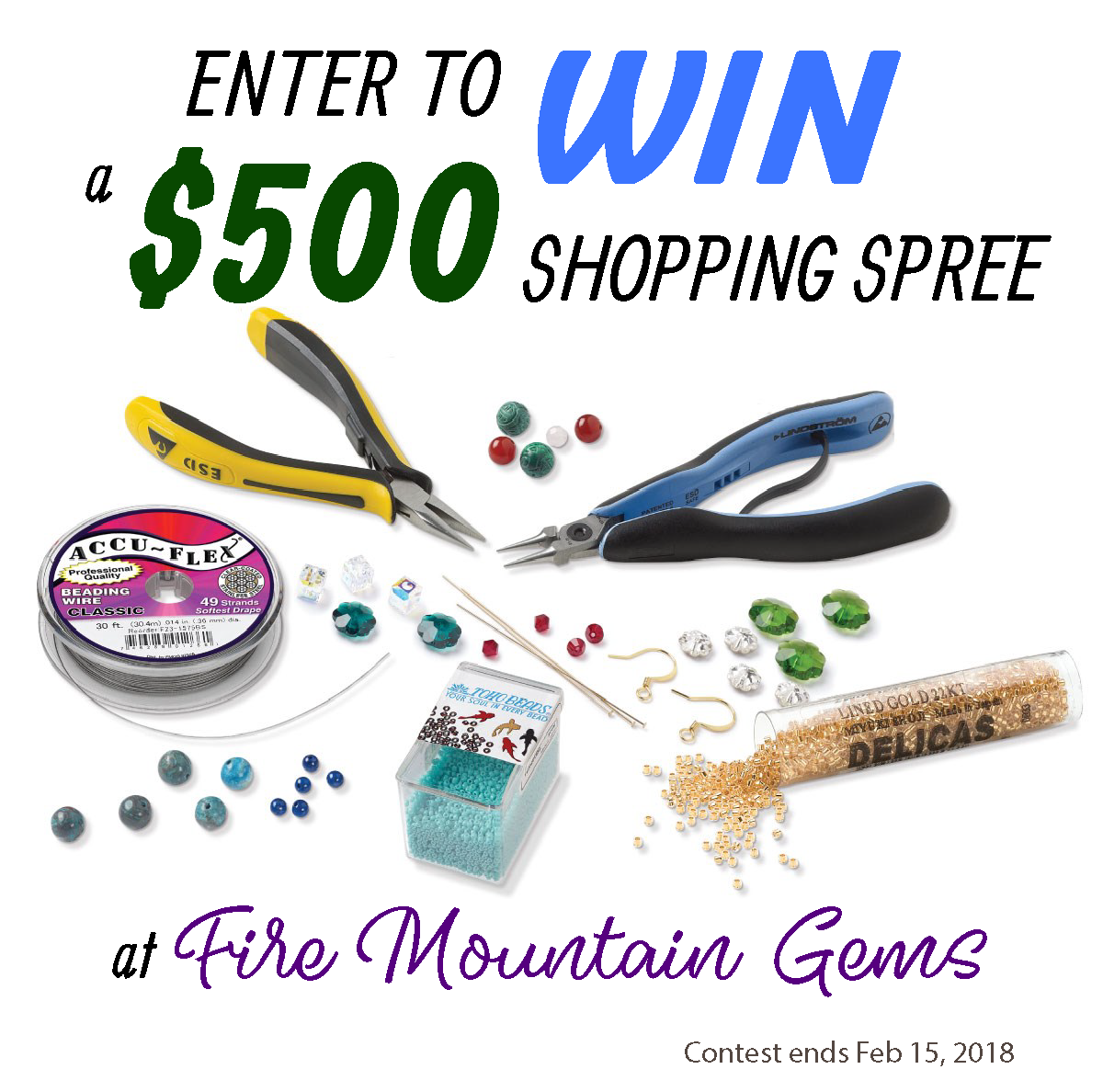 The year is starting off with some great giveaways, including a $500 Fire Mountain Gems shopping spree and a Foredom Flex Shaft! #contests #jewelry #jewelrysupplies #jewelrytools #beads #gemstones #wirewrapping